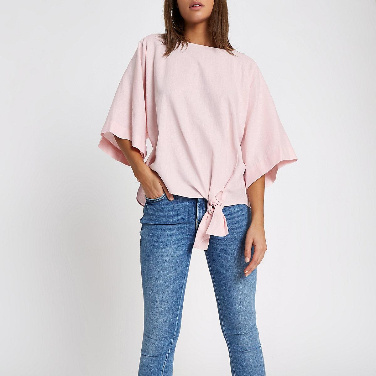 Pink tie front kimono sleeve top