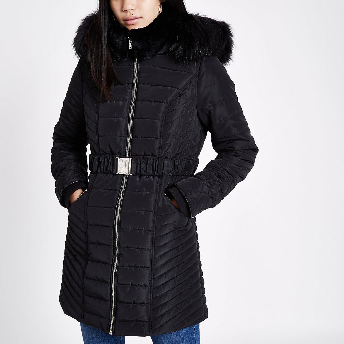 Black faux fur trim belted puffer jacket