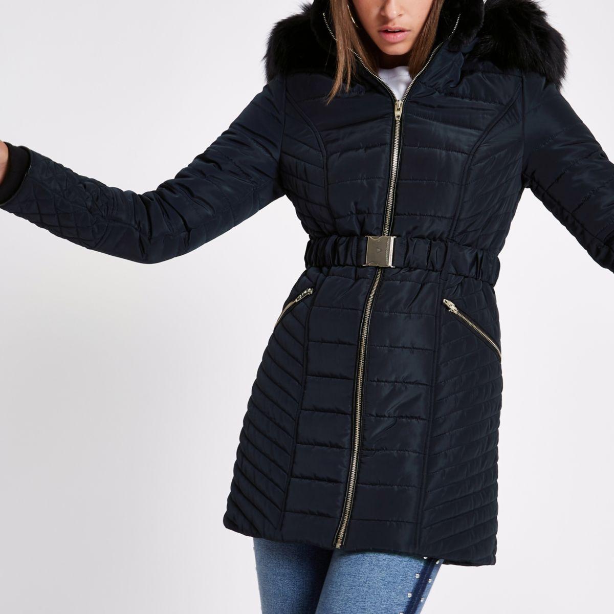 Navy faux fur trim belted padded jacket