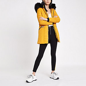 Yellow  faux fur trim belted padded jacket