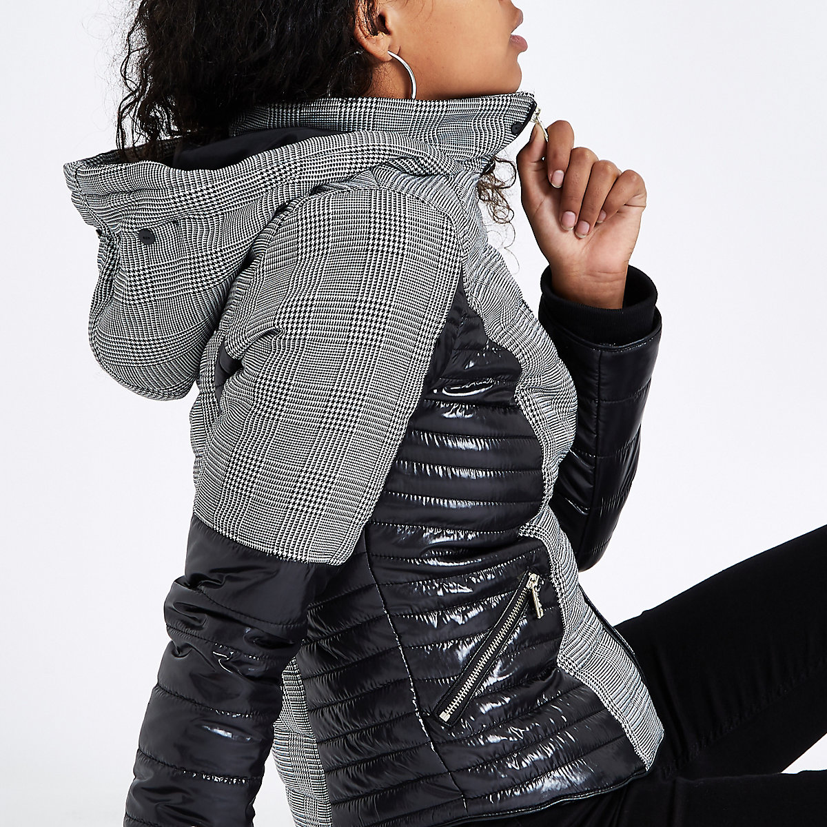 Grey check faux fur hood padded jacket