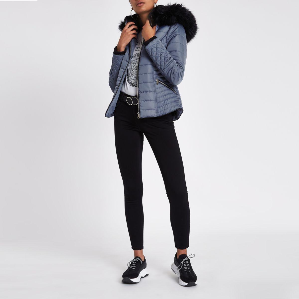 Blue satin faux fur trim padded coat