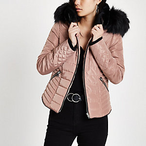 Pink faux fur hood satin puffer jacket