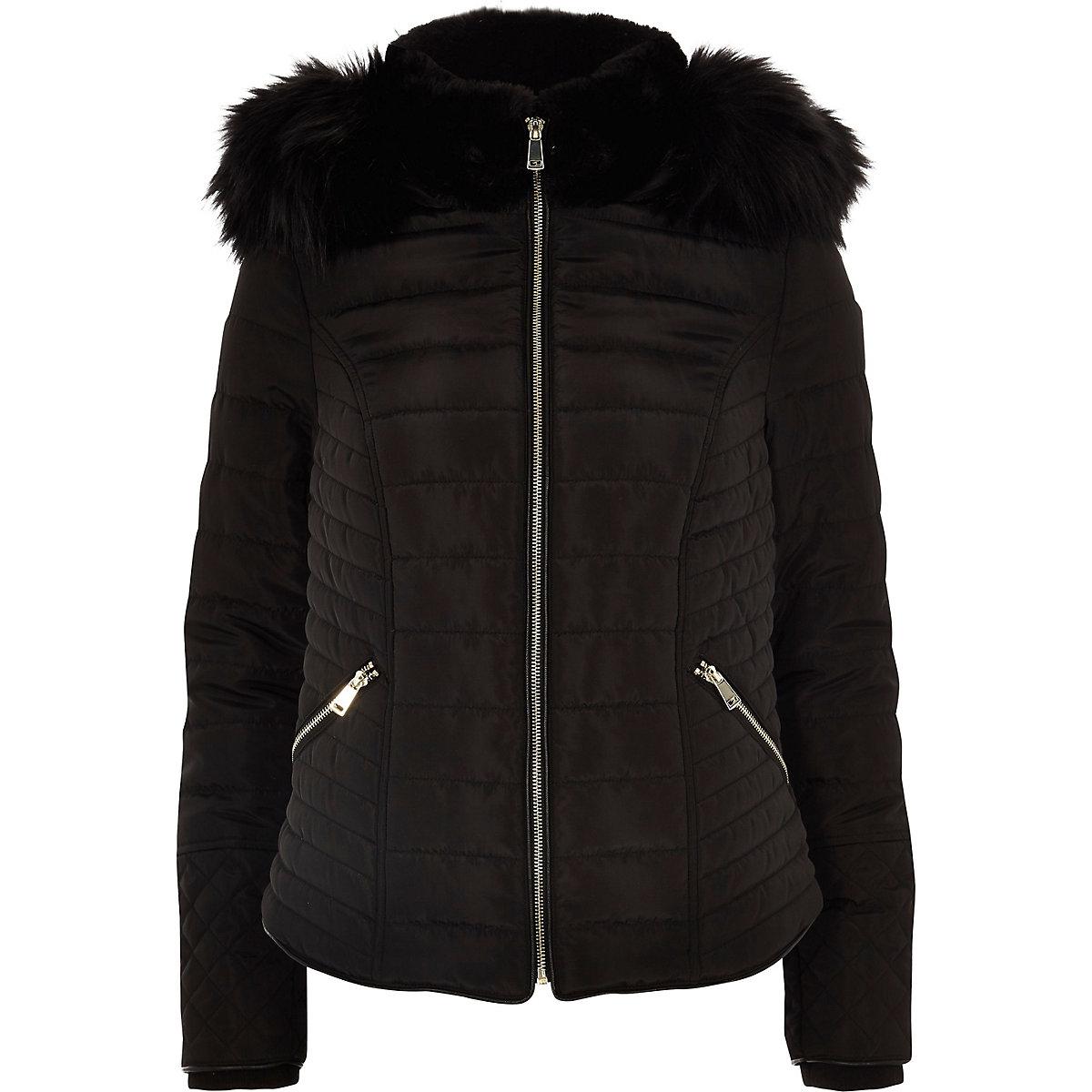 3497bf43475 Black faux fur hood long sleeve padded jacket - Jackets - Coats ...