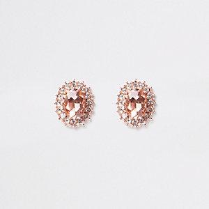 Roségoudkleurige oorknopjes bezet met diamantjes