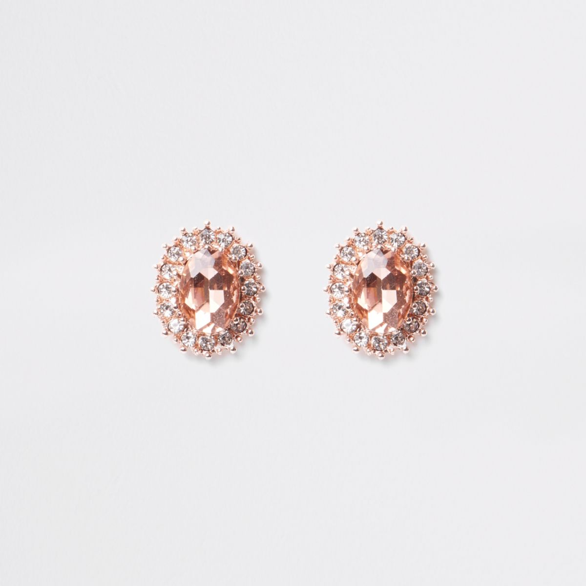 Orange stone diamante encrusted stud earrings