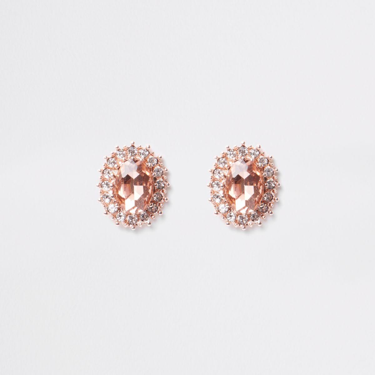 Rose gold rhinestone encrusted stud earrings