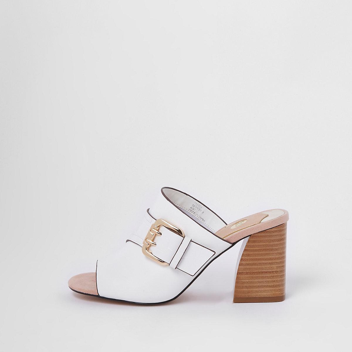 White buckle block heel mules