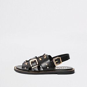 Black buckle strappy flat sandals