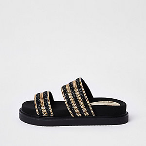 Black double chain strap sandal