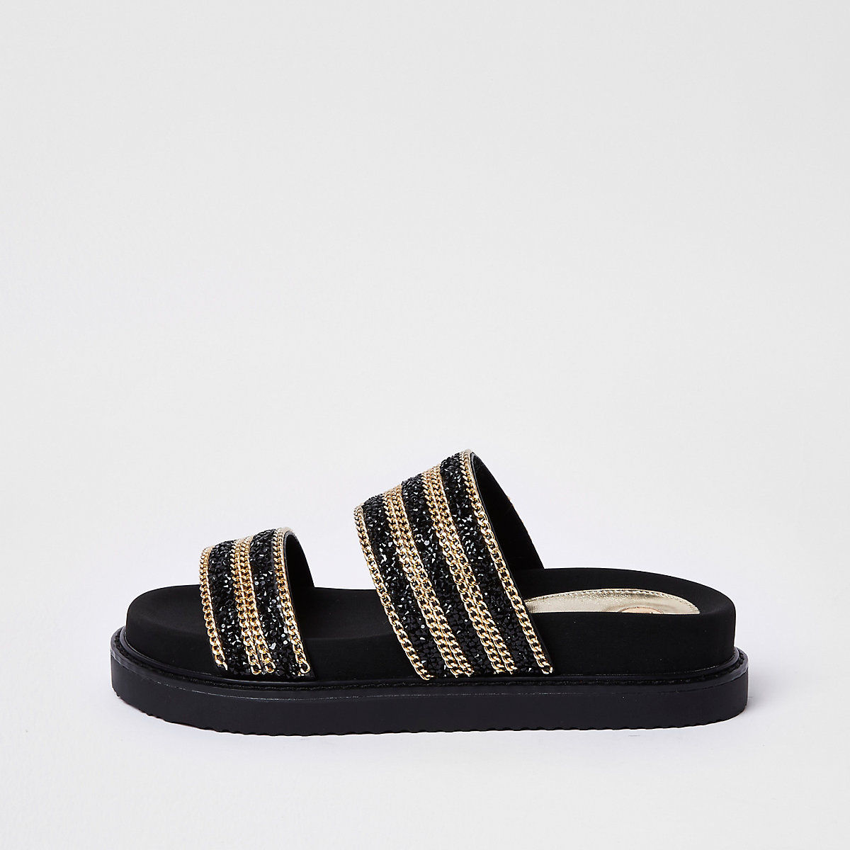 Black double chain strap sandal