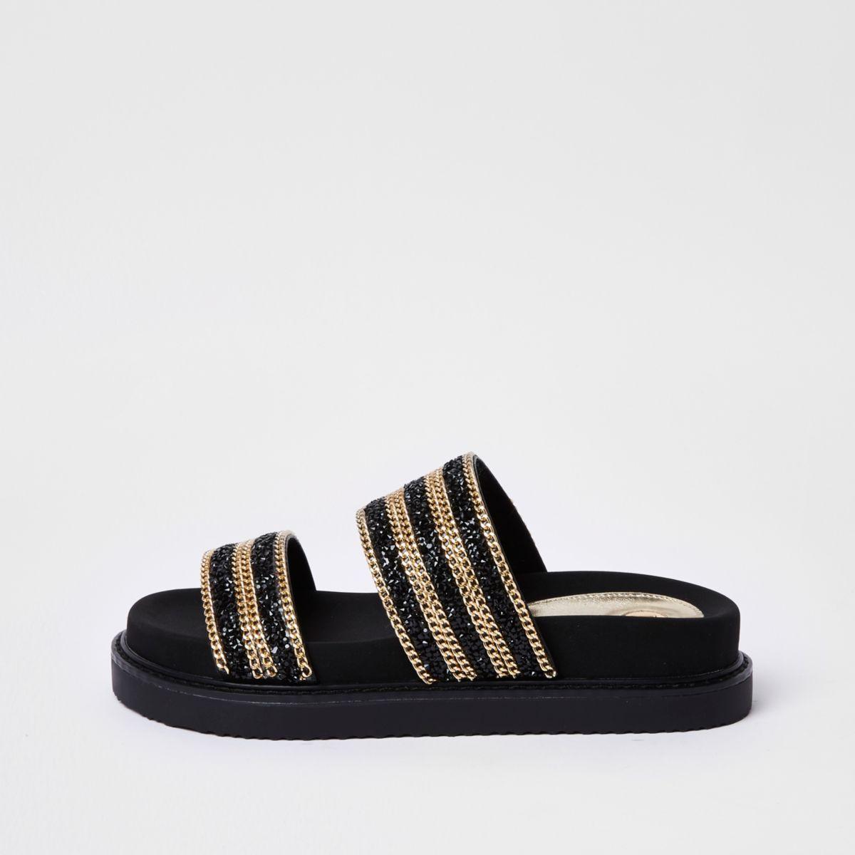 Sandales noires à deux brides avec chaînes