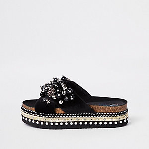 Black cross strap embellished platform slider
