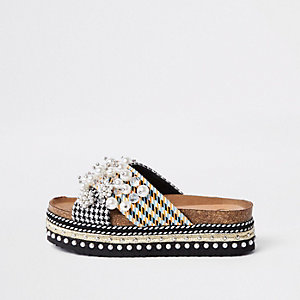 Grey cross strap embellished platform sliders