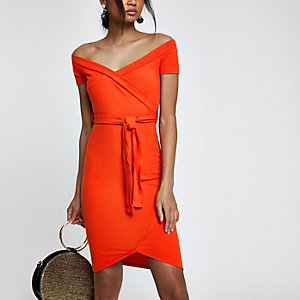 Red tie front bardot bodycon dress