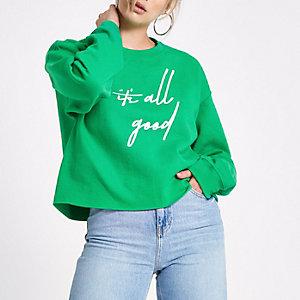 Green 'it's all good' print jumper