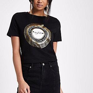 Zwart aansluitend T-shirt met korte mouwen en 1988-print