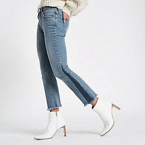 Mid blue cropped shadow panel flare jeans