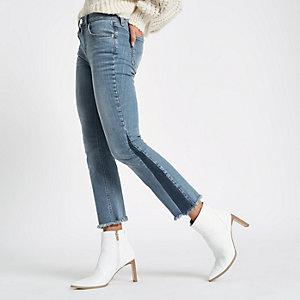 Middenblauwe cropped flare jeans met schaduwpaneel