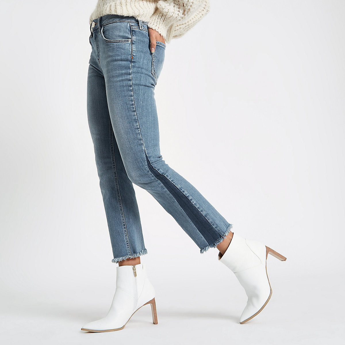 Mid blue cropped shadow panel flared jeans