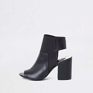 Black faux suede block heel shoe boots