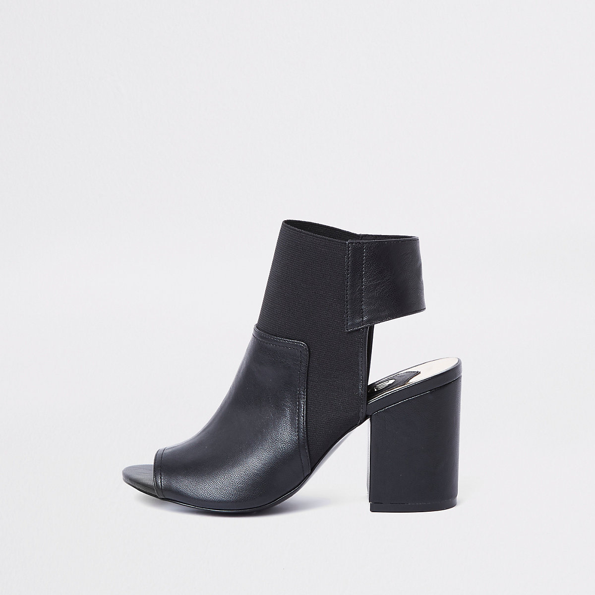 Black faux leather block heel shoe boots