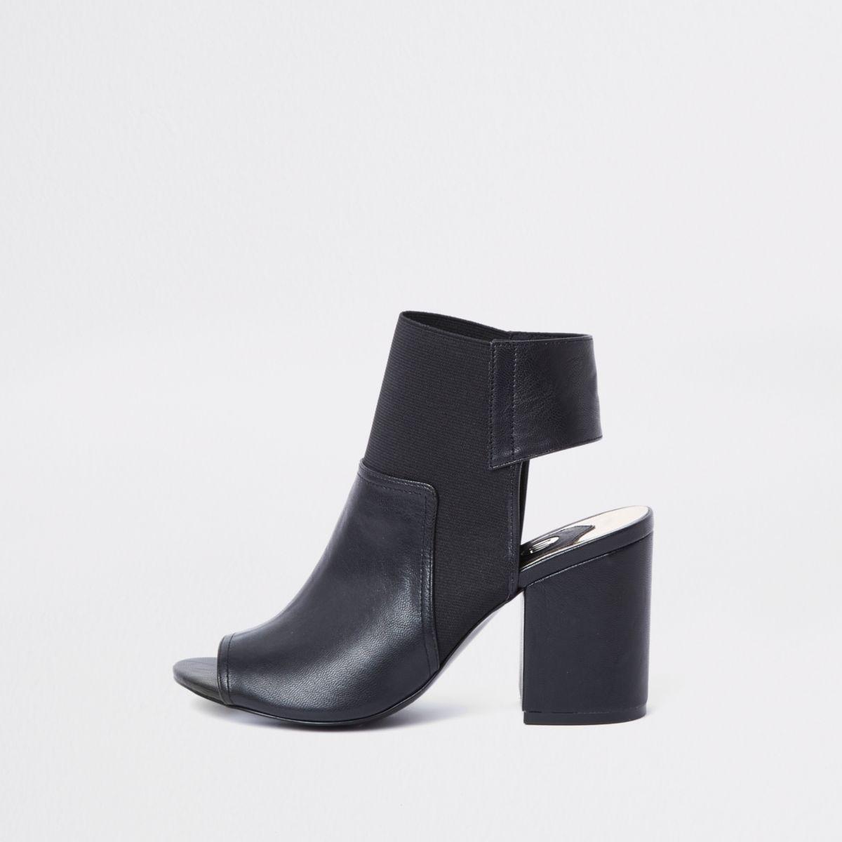 Black faux leather block heel shoe boots