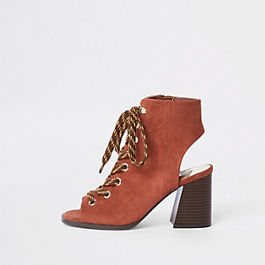 Orange lace-up block heel shoe boots