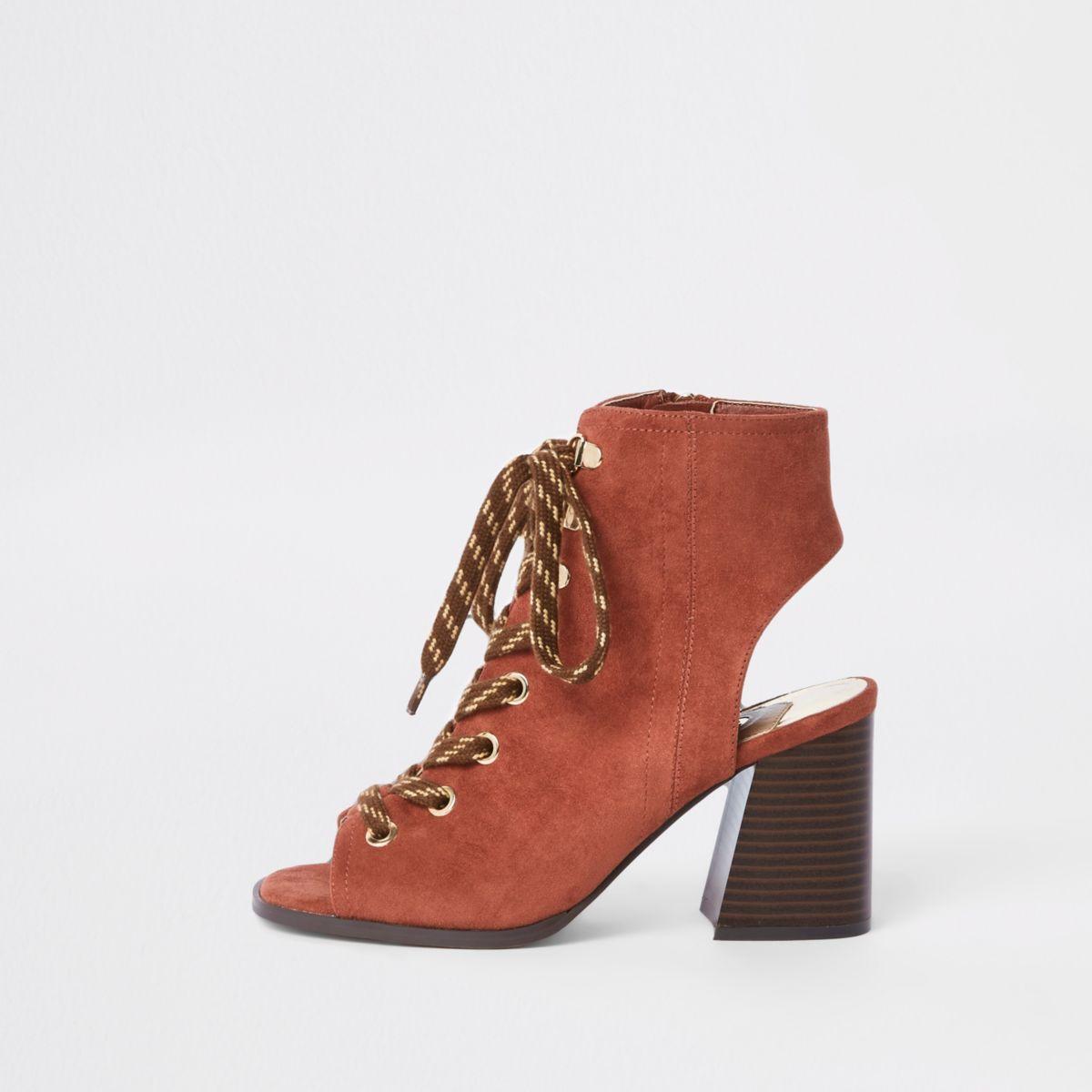 Orange lace-up block heel shoe boots