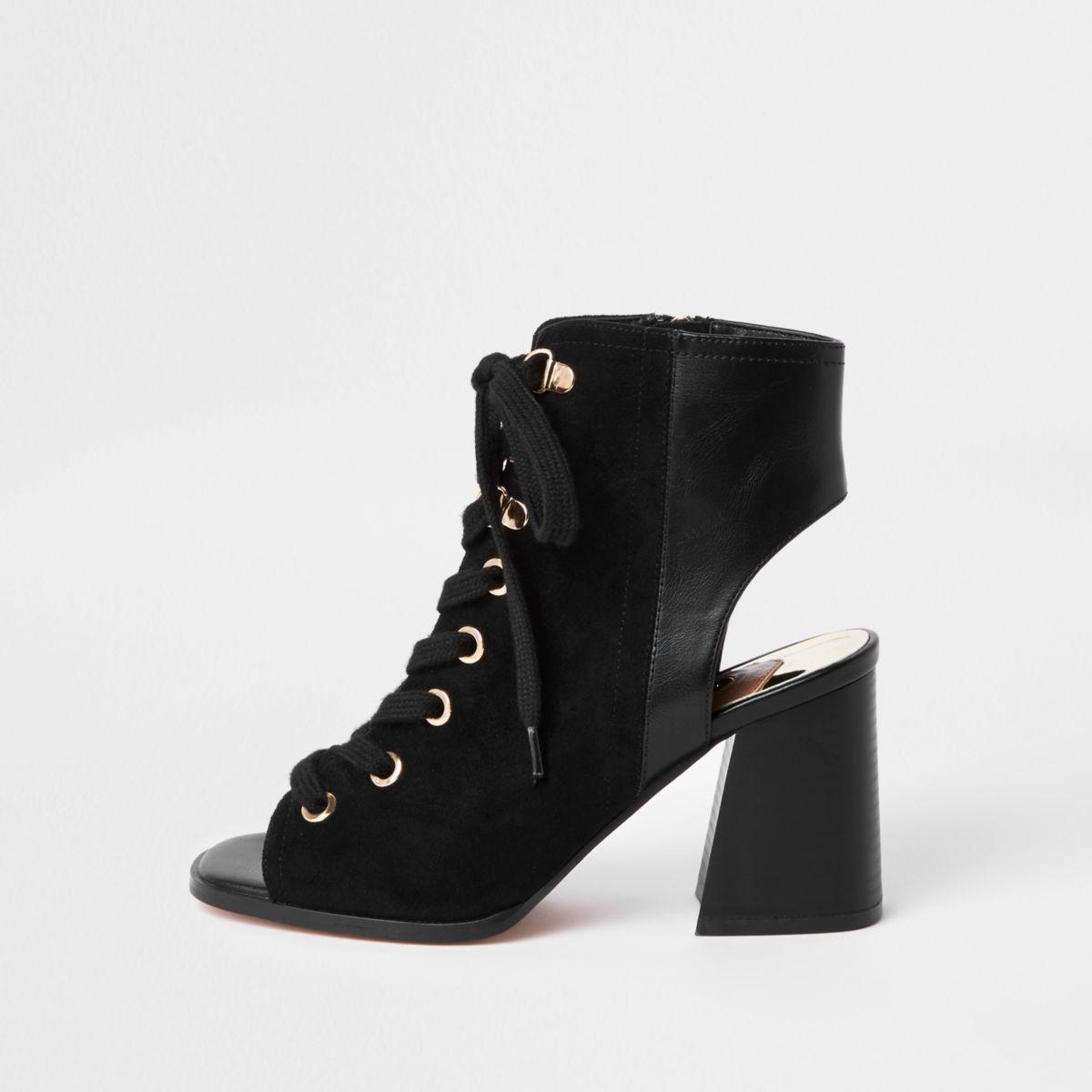 Black lace-up shoe boots