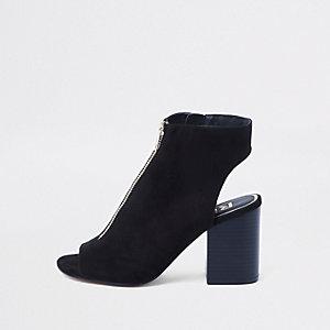 Schwarze Shoe Boots mit Reißverschluss