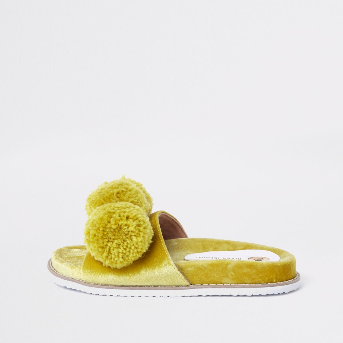 Lime green velvet pom pom sliders