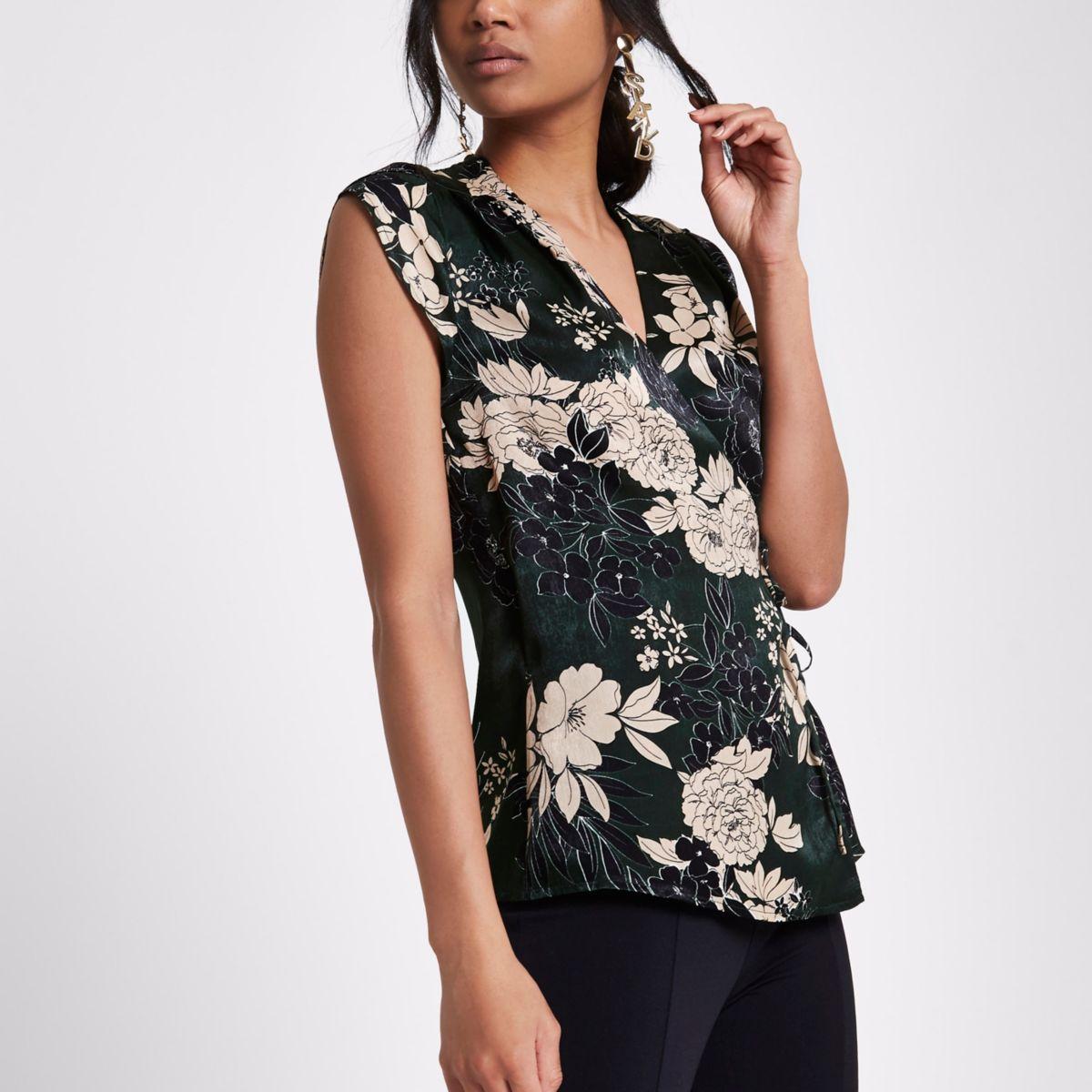 Green floral V neck wrap top