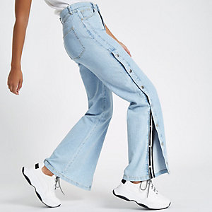 Blue wide leg popper side jeans