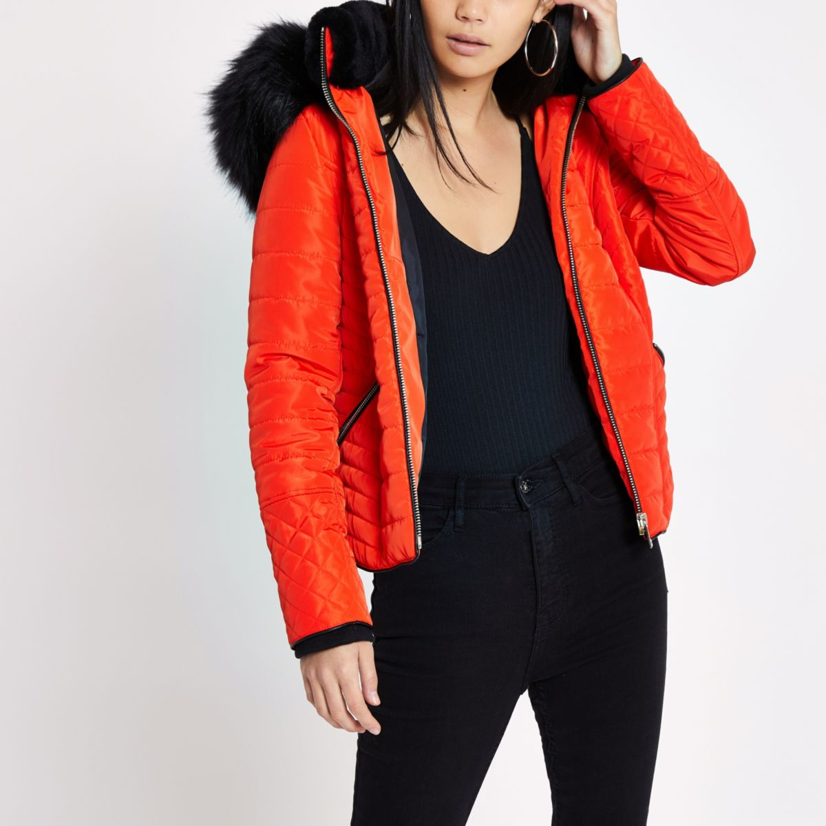 Orange fur hood long sleeve padded jacket