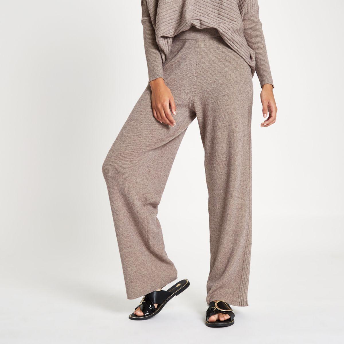 Beige knit wide leg trousers