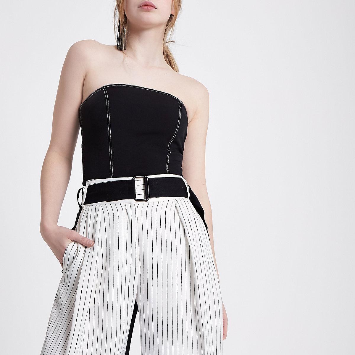 Top bandeau noir à coutures contrastantes