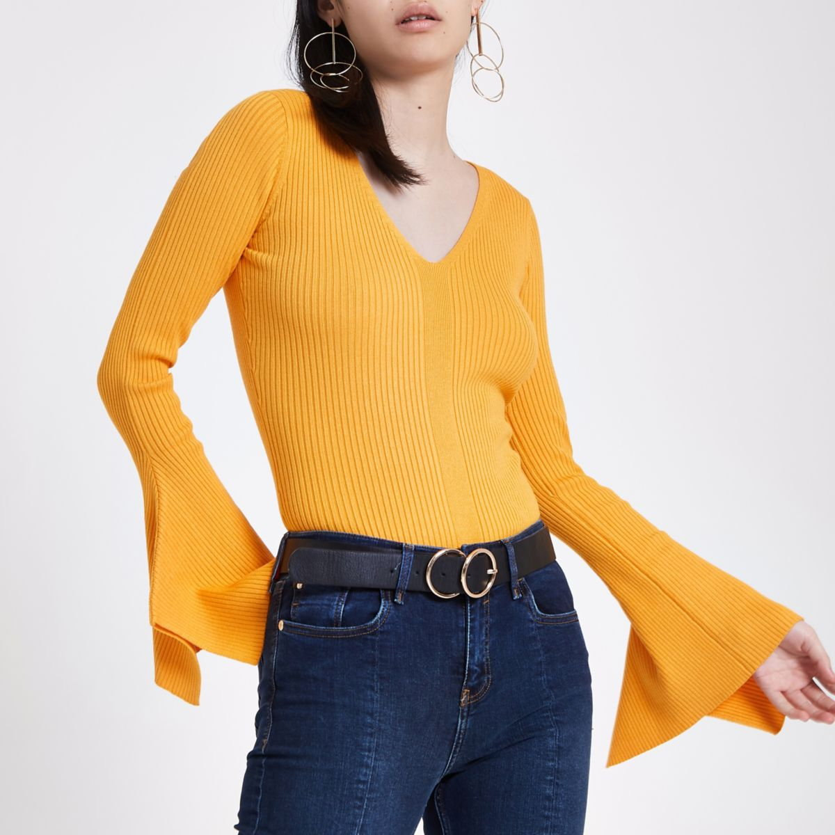 Yellow knit V neck flute sleeve top
