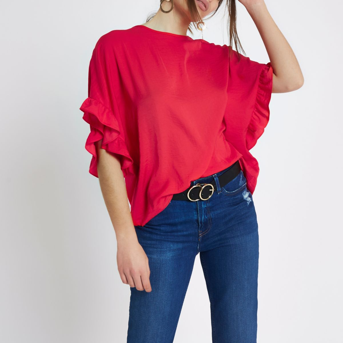 Red loose fit frill sleeve top