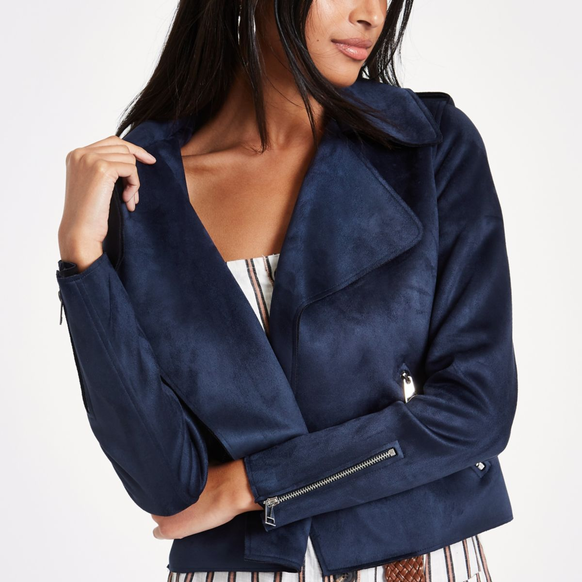 Navy blue faux suede cropped trench jacket