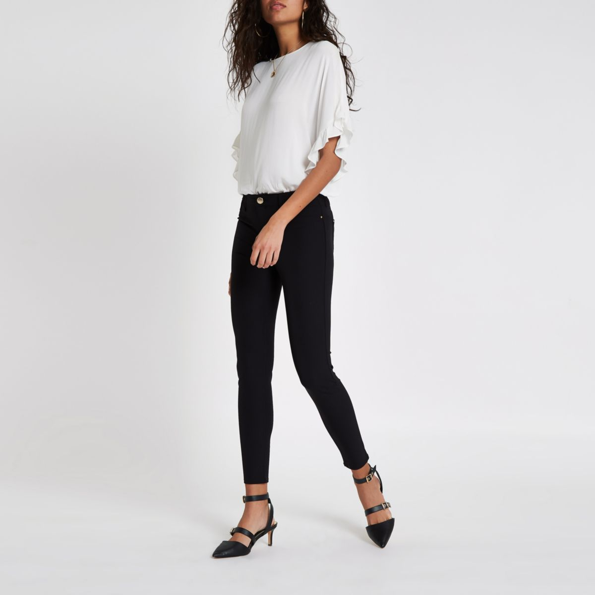 Black high waisted stretch trousers