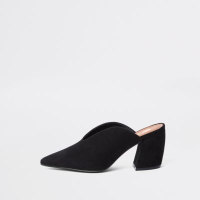 Black Curved Heel Mules by River Island