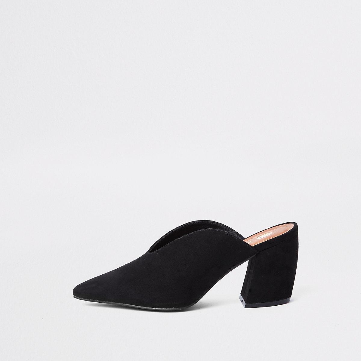 Black curved heel mules