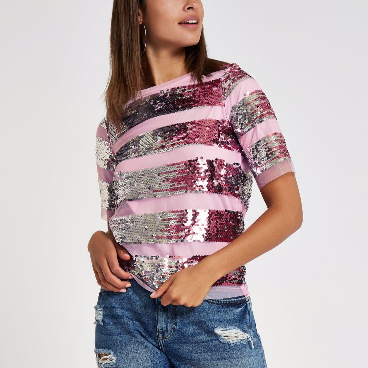 Pink mesh sequin embellished T-shirt