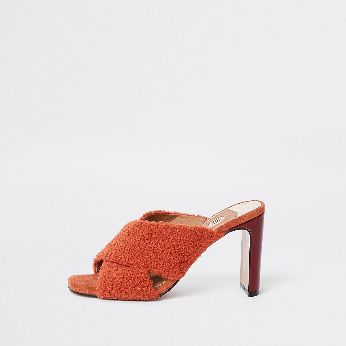 Red faux fur cross strap mule sandals