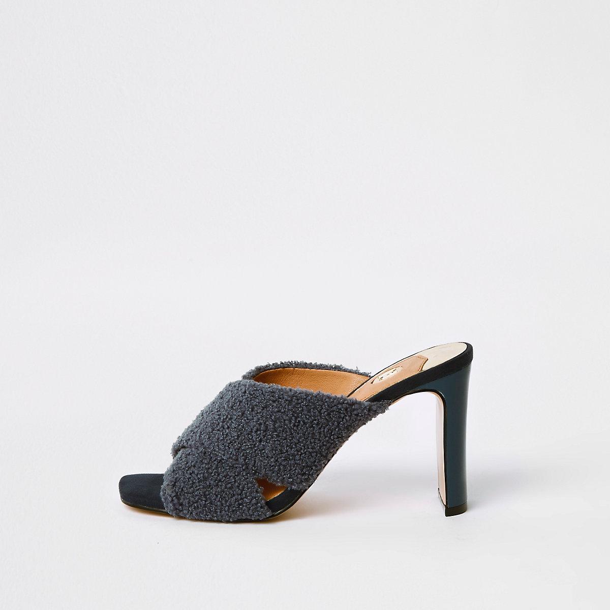 Navy faux fur cross strap mule sandals