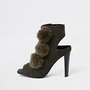 Khaki pom pom open toe shoe boot