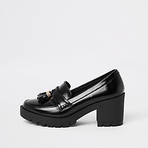 Black chunky tassel block heel loafers