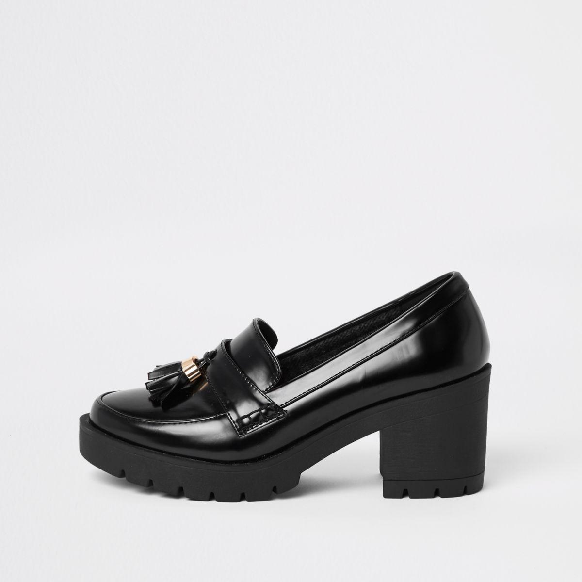 Black chunky tassel block heel loafers