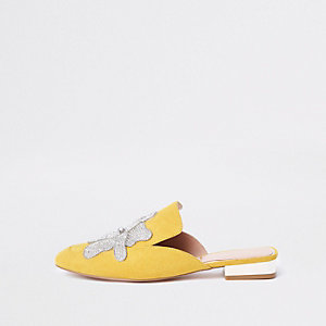 Yellow floral embellished backless loafers